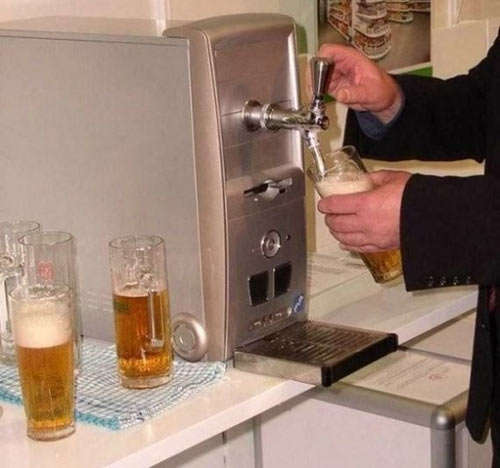 Funny picture  about beer and computer