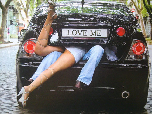 Funny picture  about love, car vulgar