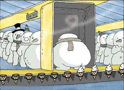 Funny picture  about snowman and ice cream
