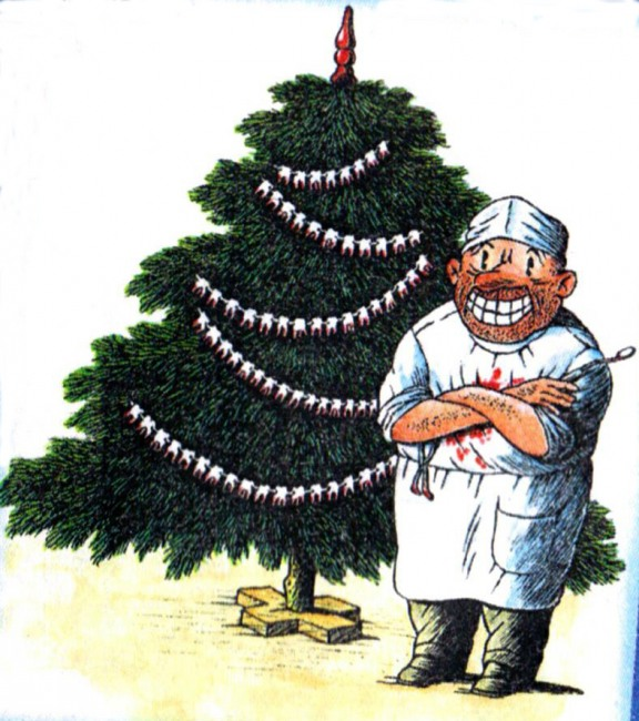 Funny picture  about dentists, christmas tree black