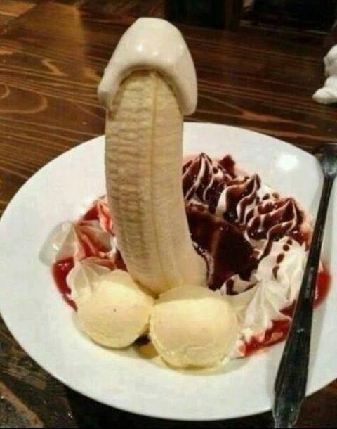Funny picture  about banana and ice cream