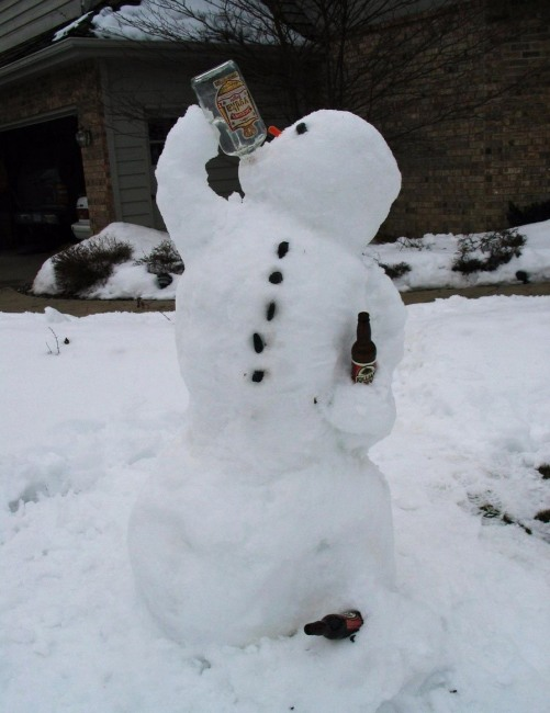 Funny picture  about snowman and alcohol