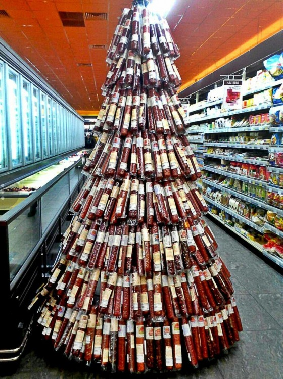 Funny picture  about sausage and christmas tree