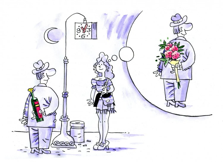 Funny picture  about dating, wine and flower